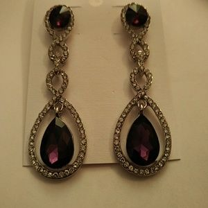 NEW - Earrings - dark purple crystal